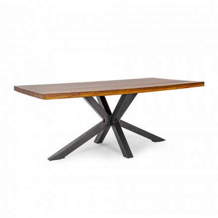Homemotion Steel Base Dining Table in Mango Wood - Marvin