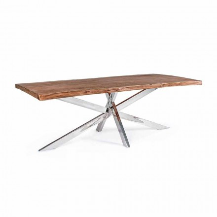 Homemotion Design Wood and Stainless Steel Dining Table - Kaily