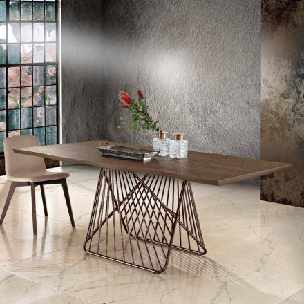 Modern dining table in solid wood made in Italy