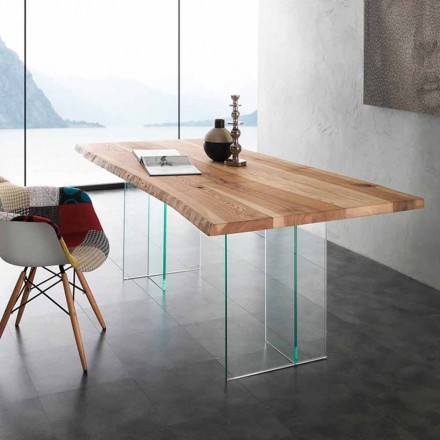 Glass table with solid wood top Marlon