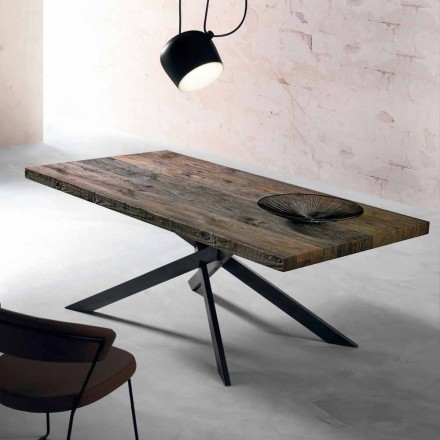 Modern dining table in solid wood made in Italy, Oncino