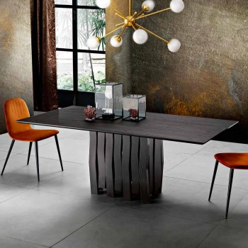 Mdf design wooden dining table made in Italy, Egisto