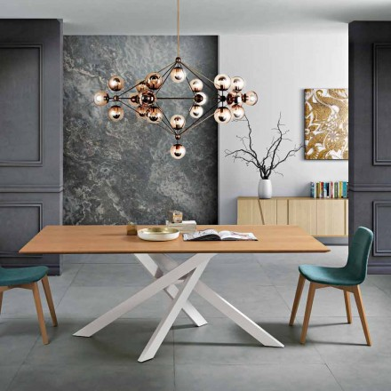 Modern dining table in MDF wood and metal made in Italy, Dionigi