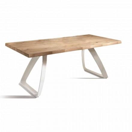 Dining Table in Metal and Veneered Oak Made in Italy - Aryssa