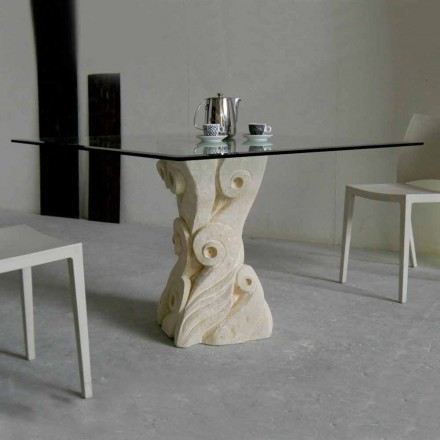Dining table with Vicenza stone base Giasone, handmade in Italy