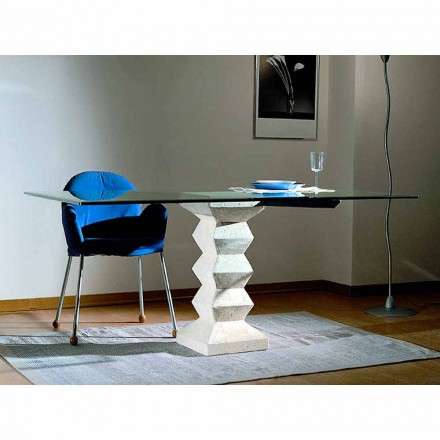 Made in Italy dining table, Vicenza natural stone and crystal, Bacco