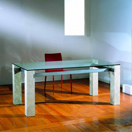 Modern dining table made of crystal and Vicenza natural stone Ebea