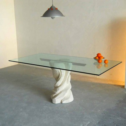 Designer dining table made of Vicenza natural stone and crystal Urano