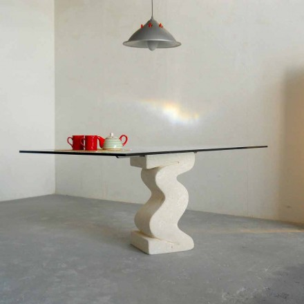 Made in Italy dining table, Vicenza natural stone and crystal, Anteros