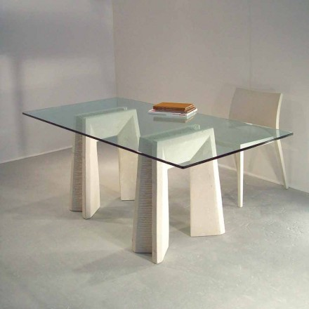 Modern dining table made of Vicenza natural stone and crystal Arianna