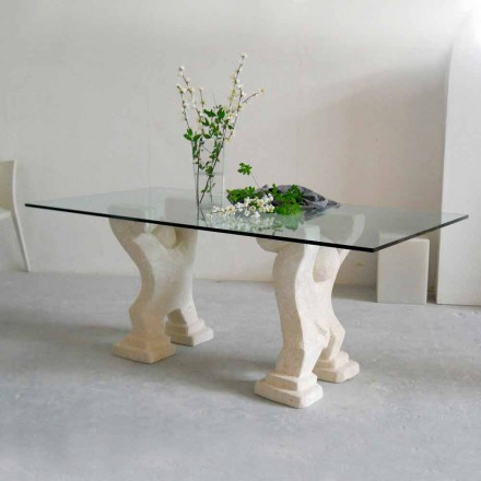 Modern dining table with Vicenza natural stone base Medusa,crystal top