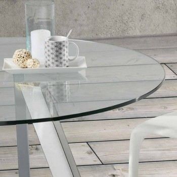 glass dining table Agata Ø130 cm, chrome legs