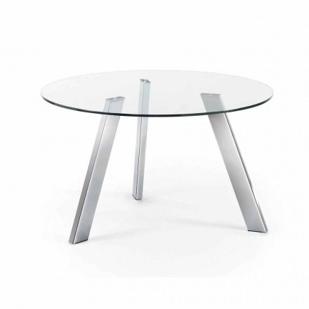 Glass dining table Agata Ø130 cm, with chrome legs