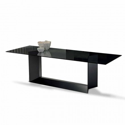 Dining Table in Smoked or Extralight Glass and Metal Made in Italy - Moro