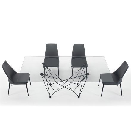 Dining Table in Tempered Glass and Black Steel Made in Italy – Ezzellino