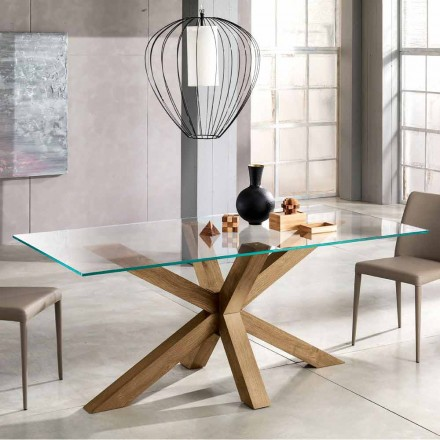Modern dining table made of wood and tempered glass 180x90 cm Airone