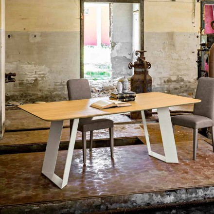 Dining table 100x200 cm made of oak MDF and metal Red, modern design