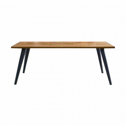 Modern Dining Table with Wooden Top and Base Made in Italy - Motta