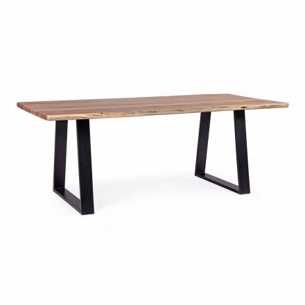 Homemotion Industrial Dining Table with Acacia Wood Top - Vermont