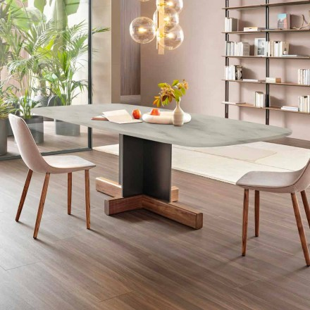 Modern Dining Table with Marble Top Made in Italy - Bonaldo Cross table