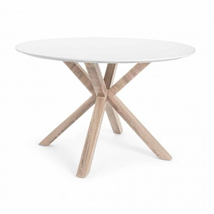 Modern Dining Table with Round Top in White Mdf Homemotion - Vento