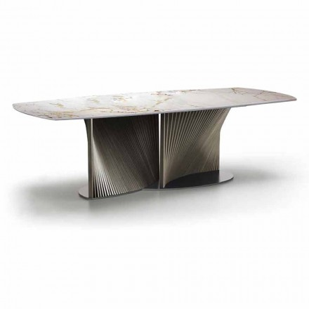 Luxury Dining Table in Stoneware and Ash Wood Made in Italy - Croma