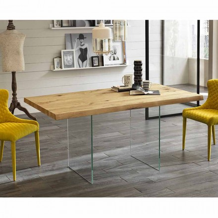 Modern dining table made of veneered oak wood with glass base - Nico