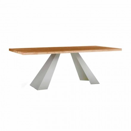 Dining Table in Wood and White Metal, High Quality Made in Italy - Miuca
