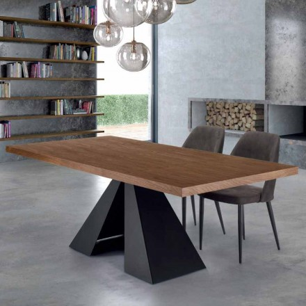 Modern Dining Table in Venereed Wood and Steel Made in Italy – Dalmata