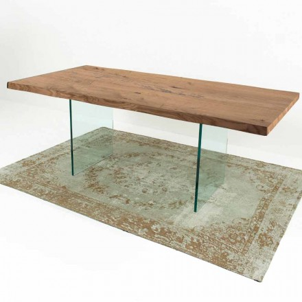 Modern Dining Table in Venereed Wood and Glass Made in Italy – Strappo