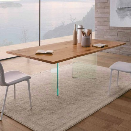 Dining Table in Knotted Oak and High Quality Glass Made in Italy - Sibillo