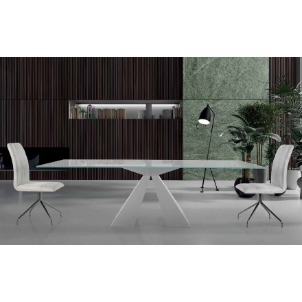 Modern Dining Table in White Steel and Glass Made in Italy – Dalmata