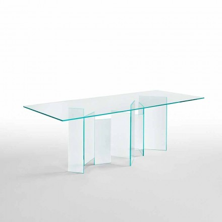 Modern Dining Table in Extralight or Smoked Glass Made in Italy - Random