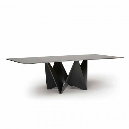 Luxury Dining Table, Smoked Bevelled Glass Top Made in Italy - Macro