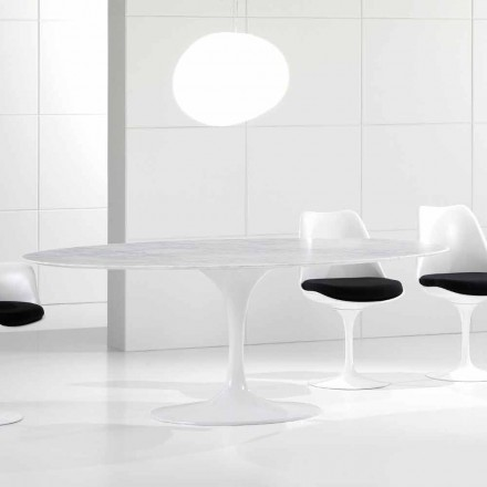 Luxury Oval Dining Table, Carrara Marble Top, Made in Italy - Nerone
