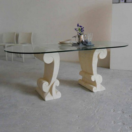 Dining table with Vicenza natural stone base and crystal top Aracne