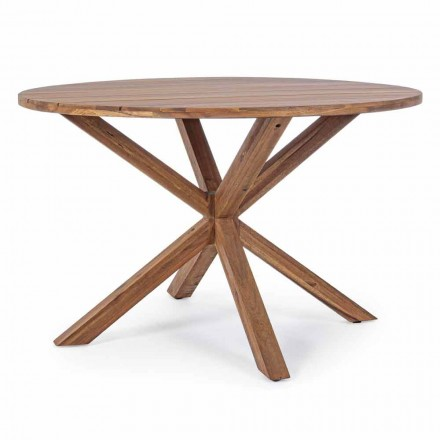Outdoor Dining Table with Round Acacia Wood Top - Perry
