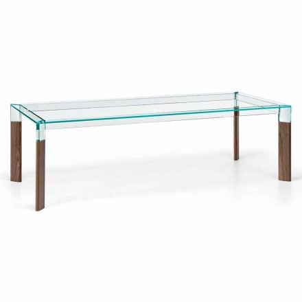 Dining Table Glass Top and Solid Wood Base Made in Italy - Presino