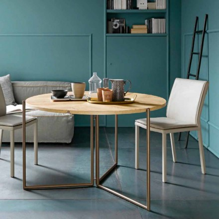 Modern Folding Dining Table in Wood and Metal Made in Italy - Menelao