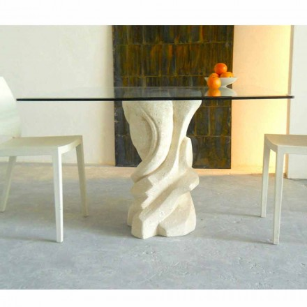 Squared dining table Leda, crystal top, Vicenza natural stone base