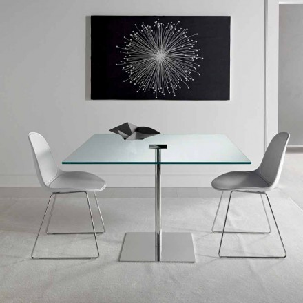Square Dining Table in Extralight Glass and Metal Made in Italy - Dolce