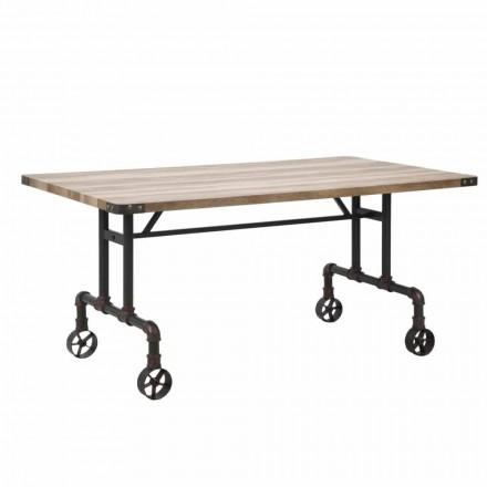 Rectangular Design Dining Table, MDF Top and Metal Base - Fabrice