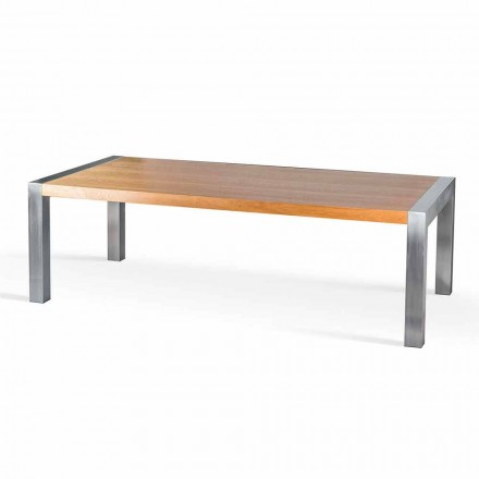 Dining table Frodo, made of oak wood and steel, made in Italy