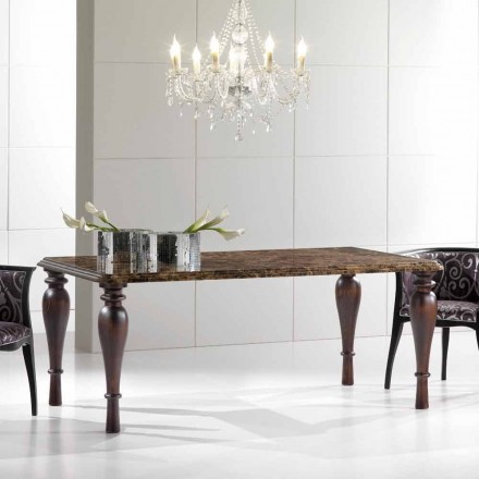 Rectangular Dining Table in Emperador Dark Marble Made in Italy - Nicolas