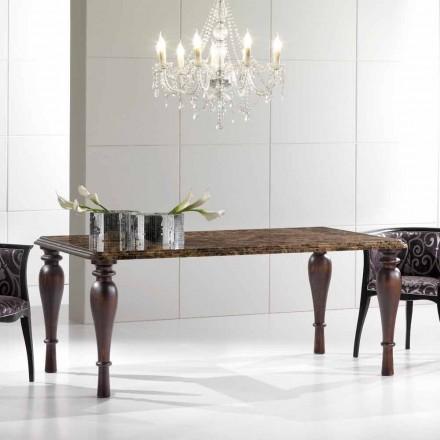 Rectangular Dining Table in Emperador Dark Marble Made in Italy - Nicolas