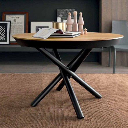 Round Extendable Dining Table with Wooden Top Made in Italy - Crodino