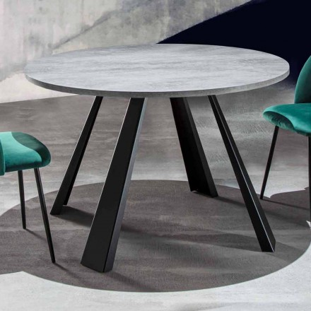 Round Dining Table Extendable Up to 370 cm in Wood and Metal - Caimano