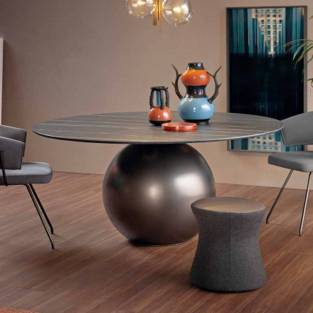 Round Dining Table with Metal Base Made in Italy - Bonaldo Circus