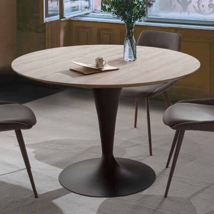 Round Dining Table with Top in Materic Oak Laminated Wood - Moreno