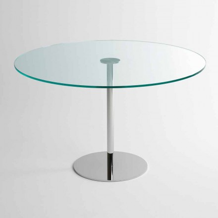 Round Dining Table with Extralight Glass Top Made in Italy - Dolce